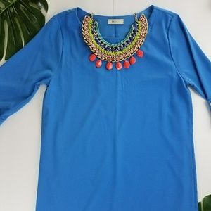 Everly Anthropologie Tunic Blue Dress Cuffed sleev